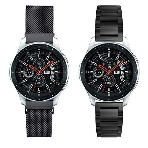 YaYuu Samsung Galaxy Watch 46mm/Gear S3 Frontier/Classic Armband, 22mm Edelstahl Metall Ersatz Uhrenarmbänd+Milanese Magnet Strap Sport Armband für Samsung Gear S3 Frontier/Classic Fitness Smart Watch