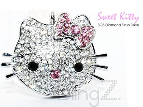 TheBlingZ 8GB Cute Kitty Diamond Bling Heart Jewellery Jewelry USB Flash Drive Disk Memory with Simulated DIAMOND Crystals -Ideal Great