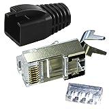 Ligawo VLS2 Netzwerk Stecker für Verlegekabel Cat.7 bis AWG22 (1 Stück) + Tülle schwarz