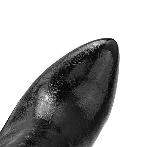 Botas Inserido Topo De Mulheres Toe Alto Apontou Baixo Salto Preto Zíper Aalardom XAq0fC