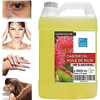 Olio de Ricino 100% Naturale 2000 ml - Occhiaie Capelli Secchi Ciglia Unghie Cuticole Viso Corpo - Made in France