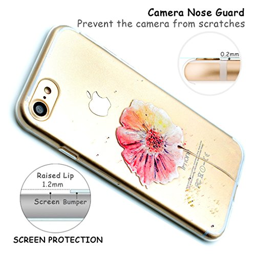 Custodia Cover per iPhone 7 Silicone, Cover iPhone 7 Silicone Morbido TPU Trasparente, OUJD Protective Case TPU Gel Ultra Sottile Cassa Protettiva Design per iPhone 7 - Fiori Fiori