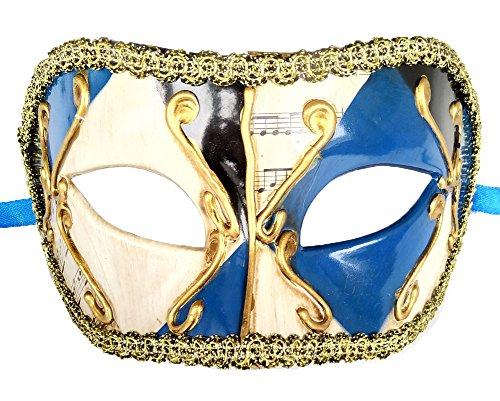 Coolwife Herren Maskerade Maske Vintage venezianischen Checkered Musical Party Mardi Gras Maske (Z Blau Schwarz)