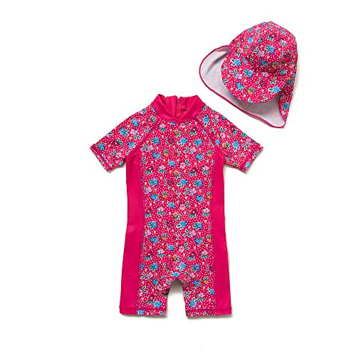 Baby Mädchen Ein stück Kurzärmel-Kleidung UV-Schutz 50+ Badeanzug MIT Einem Reißverschluss(Rosa-GDBlumen,6-9M)