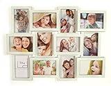 Fotogalerie für 12 Fotos 60x45cm Weiß Glas - 3D Optik - Bilderrahmen Bildergalerie Fotocollage Fotorahmen Collage