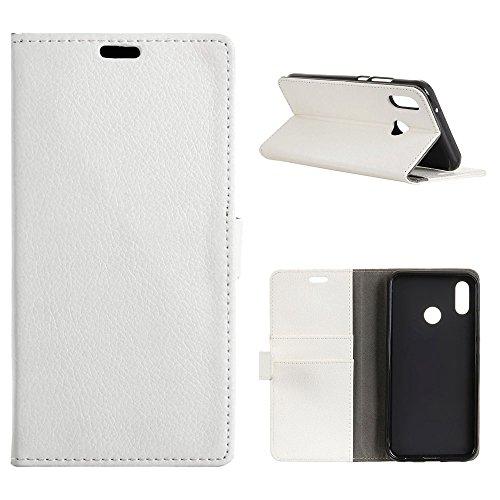 MOONCASE Xiaomi Mi A2 Hülle,Litschi Textur PU Leder Magnet Flip Karten Slot Brieftasche TPU Innere Ständer Schutzhülle für Xiaomi Mi A2/Mi 6X 5.99 Weiß