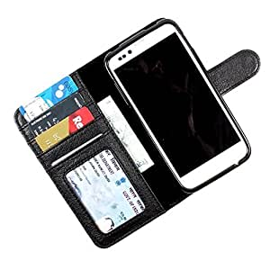 i-KitPit PU Leather Wallet Flip Case Cover For Motorola Moto E (Black)