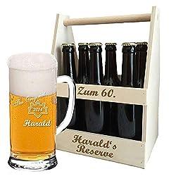 Bierkrug + Holz-Bierträger + inklusive kostenloser Gravur   personalisiertes Bier-Geschenk-Set für Biertrinker   Flaschenträger graviert   Bierglas (B6)