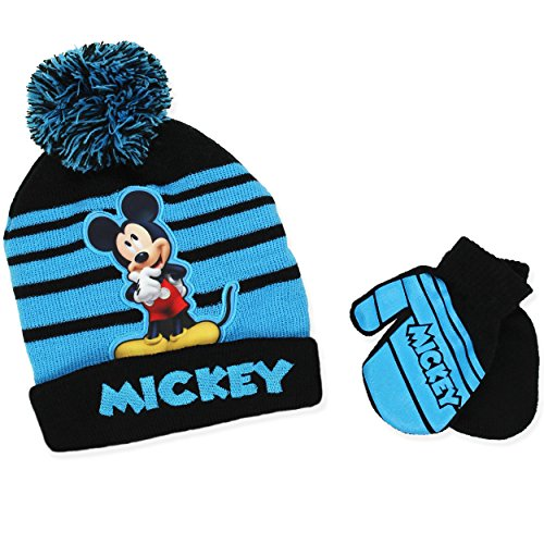 Disney Mickey Mouse Boys Beanie Hat and Mittens Set (Blue)