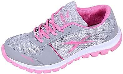 Orbit Girls' Grey & Pink Canvas Cricket Shoes- 6 UK