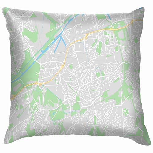 beautiful& Gelsenkirchen Germany Printable Street Map Classic Parks Outdoor Artistic Throw Pillows Covers Accent Home Sofa Cushion Cover Pillowcase Gift Decorative 18X18 Inch