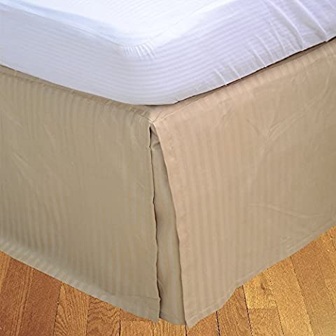 RoyalLinens EU Single 500TC Taupe Stripe Georgeous 1PCs Box Pleated Bedskirt Stripe (Drop Length: 10 inches)