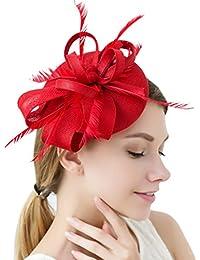 Femmes élégantes Fascinator chapeau nuptiale plumes cheveux clip accessoires cocktail Royal Ascot