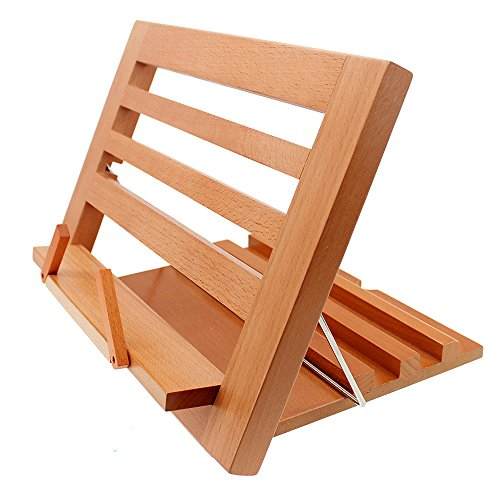 Halovie soporte para libro Tablet iPads Book Holder Atril de lectura ajustable y plegable de madera, 34.3*23.8*2cm