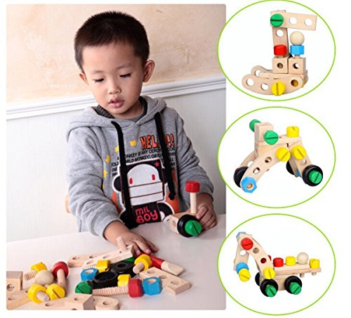 PIGLOO 30-Piece Wooden Nuts Building Assembly Car Blocks Set for Kids Ages 3+ Years
