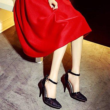 LvYuan Damen-Sandalen-Hochzeit Kleid Party & Festivität-Kunstleder-Stöckelabsatz-D'Orsay und Zweiteiler Club-Schuhe-Schwarz Rot Weiß Red