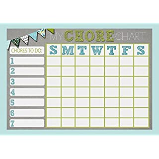 Weekly Diary for Chores Reward Chart, Blue and Grey