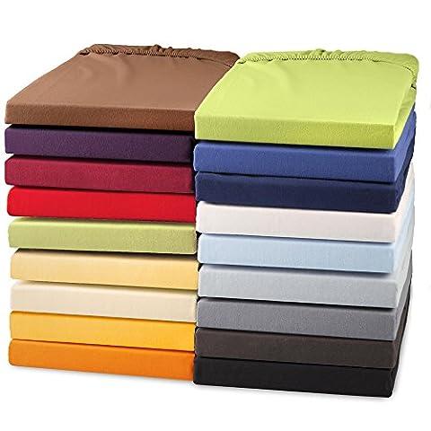 Topper Spannbettlaken 180x200 - 200x200 Jersey Mako-Baumwolle Spannbetttuch für Boxspringbetten-Topper 160g/qm CelinaTex Perla 0004266 dunkel