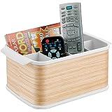 mDesign cesta organizadora - Caja organizadora de plástico y madera con asas - Cesta para armario en color blanco/madera