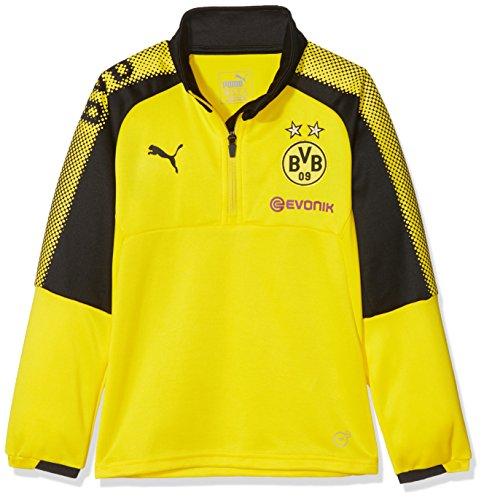 PUMA Kinder BVB 1/4 Training Top with Sponsor Logo T-Shirt, Cyber Yellow Black, 176