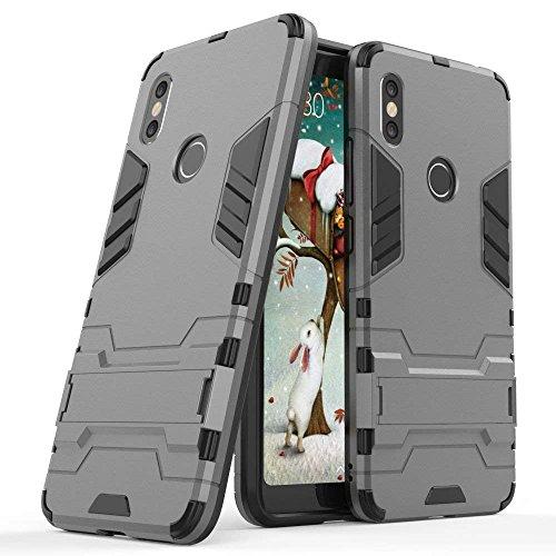 MaiJin Hülle für Xiaomi Redmi S2 (5,99 Zoll) 2 in 1 Hybrid Dual Layer Shell Armor Schutzhülle mit Standfunktion Case (Grau)