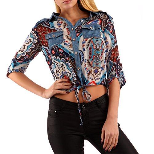 Damen Bluse bedruckt Binde- Hemd Türkis