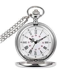 gorben plata vintage cuarzo reloj de bolsillo con cadena collar reloj de bolsillo para los hombres + caja de regalo
