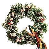 Premium kwaliteit kerst hangende krans 30cm - feestelijke dennenappel display met subtiele witte glazuur