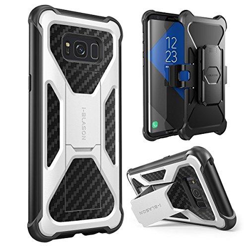 i-Blason Galaxy S8+ Plus Hülle Prime Serie - 2-Schicht Schutzhülle/Tasche / Gehäuse/Zubehör mit Standhalter, schwenkbaren Gürtelschnalle mit Locking-Mechanismus (2017 Release) (Weiß)