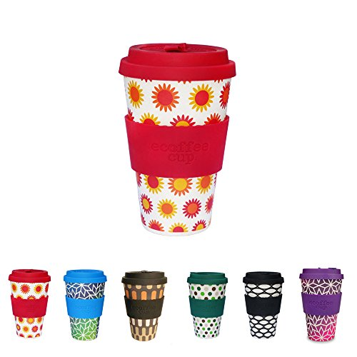 Farbenfrohe eCoffee Cups von Kaufdichgrün I Thermo Kaffeebecher Bambus mit Deckel aus Silikon und...