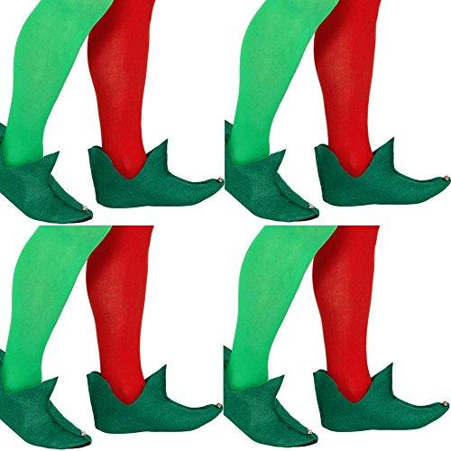 German Trendseller® - 4 x Elfen Schuhe Grün ┃ Gnom ┃ Wichtel ┃ Peter Pan ┃ Die 7 Zwerge ┃ 4 Paar Feen Schuhe (Peter Pan Perücke)