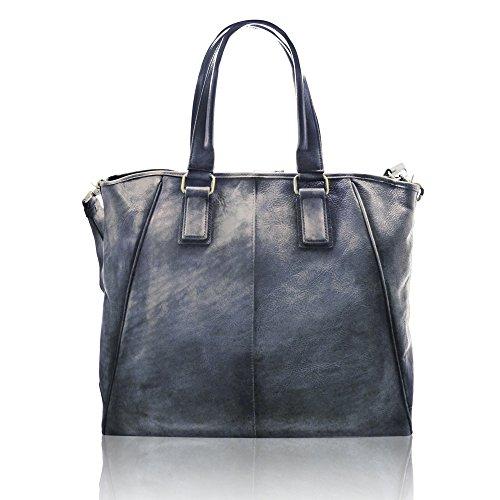 DARBY Reisetasche Aktentasche Mann Frau Laptop ipad mit verstellbarem Schultergurt im Alter von italienischem Leder blau