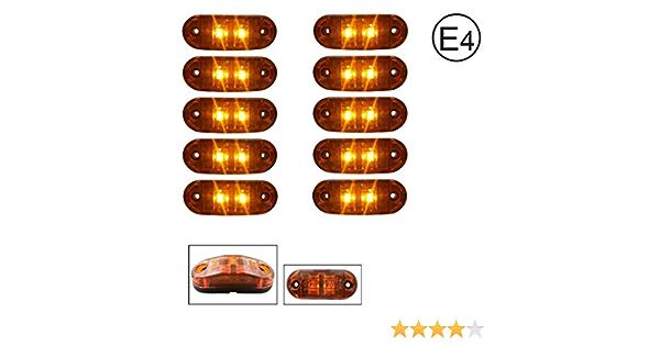 A1 10 X Led 12v Gelb Orange Begrenzungsleuchte Positionsleuchte Seitenmarkierungsleuchte Lkw E Prüf E9 Auto