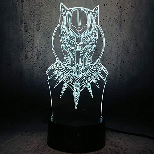 WangZJ Holiday Gift Black Panther Head 3D Lamp Night