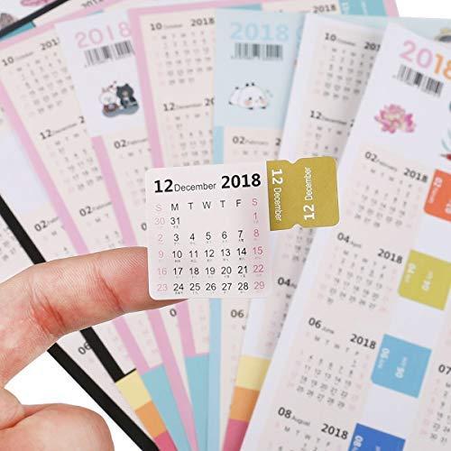 2018Kalender Aufkleber selbst Stick Monatliche Index Taben Lable Lottas Lable Marker Notes Seite diciders selbstklebend für Bullet Tagebuch/Planer/Agenda, 4Sets sortiert Farbe (Monatlich Kalender-buch)