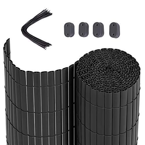 SONGMICS PVC Sichtschutzmatte Grau (90 x 300 cm) Sichtschutz für Garten Balkon und Terrasse GPF093G