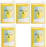 Regenponcho Poncho 5er Set Nylon Gelb Regenüberzug mit Kaputze Regenjacke Geruchsarm