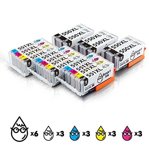 Smart Ink Kompatibel Druckerpatronen Tintenpatronen Canon PGI 550 XL CLI 551 XL 18 Pack(6 PGBK & 3 BK/C/M/Y) mit Chip für Canon PIXMA MG5450, MX725, MX925, MG6450, MG5550, IX6850, MG5650, IP7250, IP8750