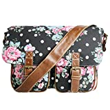 Miss Lulu , Damen Satchel-Tasche Flower Black Canvas
