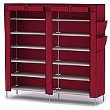 katomi 12 étages Étagère à chaussures avec housse anti-poussière Armoire Armoire de rangement organiseur (vin rouge)