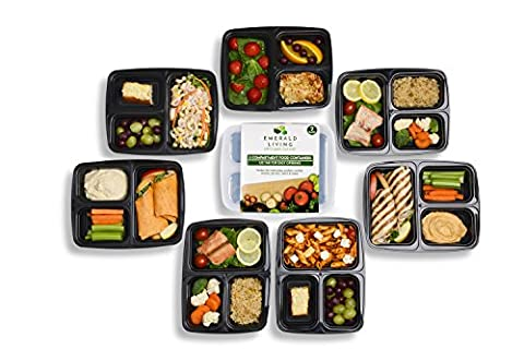 Emerald Living 3 Compartment BPA Free Meal Prep Containers. Reusable Plastic Food Containers with Lids. Stackable, Microwavable, Freezer & Dishwasher Safe Bento Lunch Box Set + EBook [1L - 7 Pack]