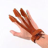 Piel suave guante de caza tiro con arco 3dedos Tab Protector de pantalla para Tire arco de flecha