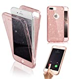 For iPhone 8 Plus Bling Case, Practical Shockproof Ultra Thin Soft TPU Silicone Front and Back Full Body 360 Degree Protective Case For iPhone 8 Plus, Vandot Drop-Resistant Slim Fit Flexible Full Coverage Cover for iPhone 8 Plus / iPhone 7 Plus 5.5 inch - Sparkly Transparent Pink