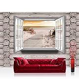 Vlies Fototapete 104x70.5cm PREMIUM PLUS Wand Foto Tapete Wand Bild Vliestapete - Holz Tapete Holzoptik Fenster Strand Meer Sonnenuntergang Horizont grau - no. 3010