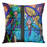 Ntpclsuits Throw Pillow Cover Prague Czech Republic April Stained Glass Window in St Vitus Cathedral Designed by Alphonse Mucha Decorative Pillow Case Home Decor Square 18x18 Inches Pillowcase