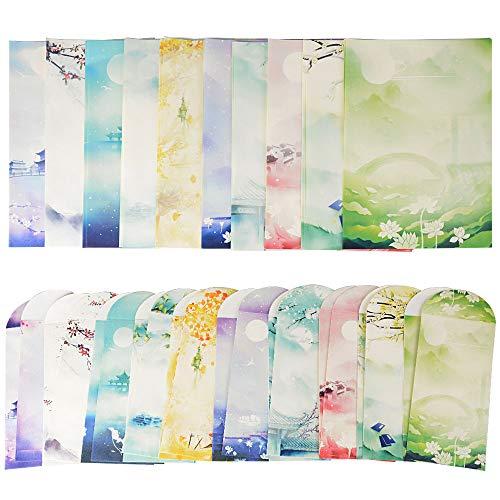 40 Blatt Briefpapier mit 20 Blatt Umschläge Set vintage Schreibpapier Motivpapier mit Umschlag ohne Fenster
