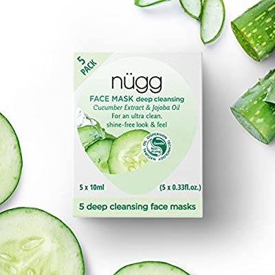 nügg Deep Cleansing Face Masks to Cleanse and help Soothe and Refine Pores; Non-Drying and For All Skin Types; 3 times Allure Best of Beauty Award Winner; 5 Pack by nügg Beauty