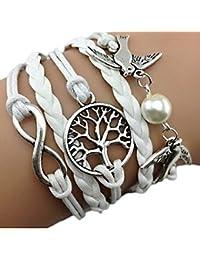 SODIAL(R) Pulsera infinito con arbol de la vida, paloma y perla/eternidad/ one direction/ love - blanco / plateado