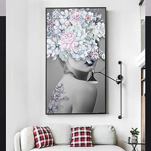 yhyxll Nordic Poster Flower Girl Pittura a Olio Risveglio Stampa su Tela Decorazione Immagine da Parete per Soggiorno Moderno 60x90cm