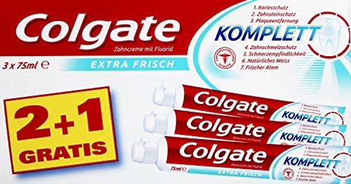 3x COLGATE Zahncreme Komplett Extra Frisch in einer Verpackung